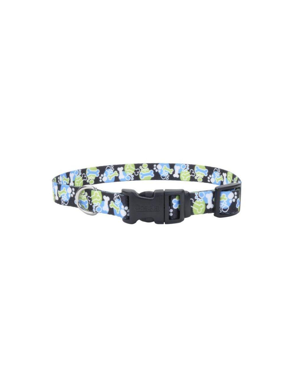 Coastal perro styles hueso huella azul collar small 5/8