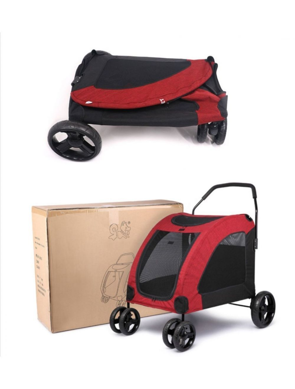 Coche Pet Stroller Grande Color Rojo-Negro