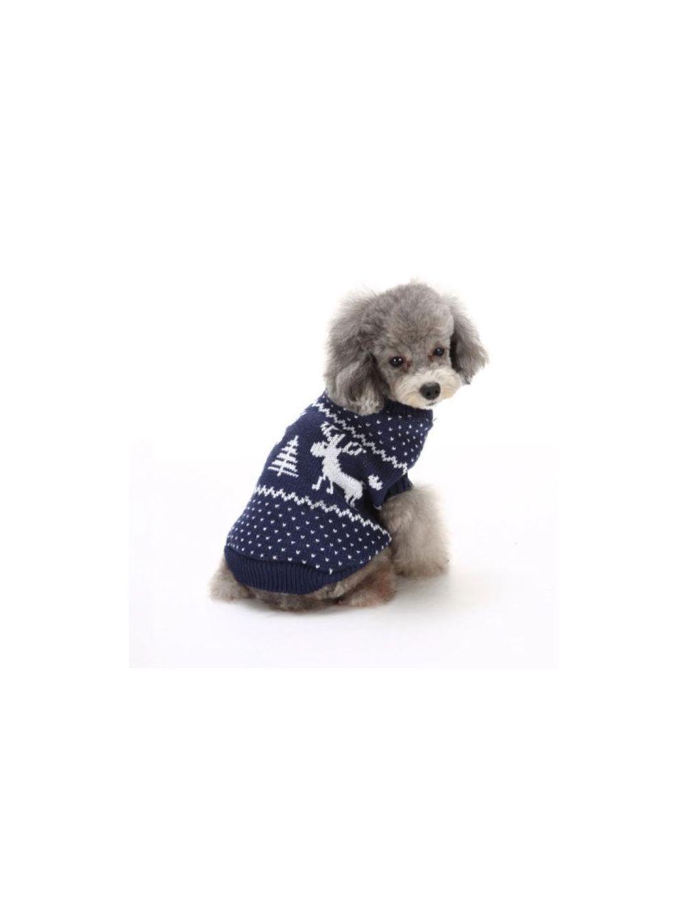 Suéter, Buzo, Saco Navideño para Perros o Gatos, Valentín For Pets Azul Talla XXL