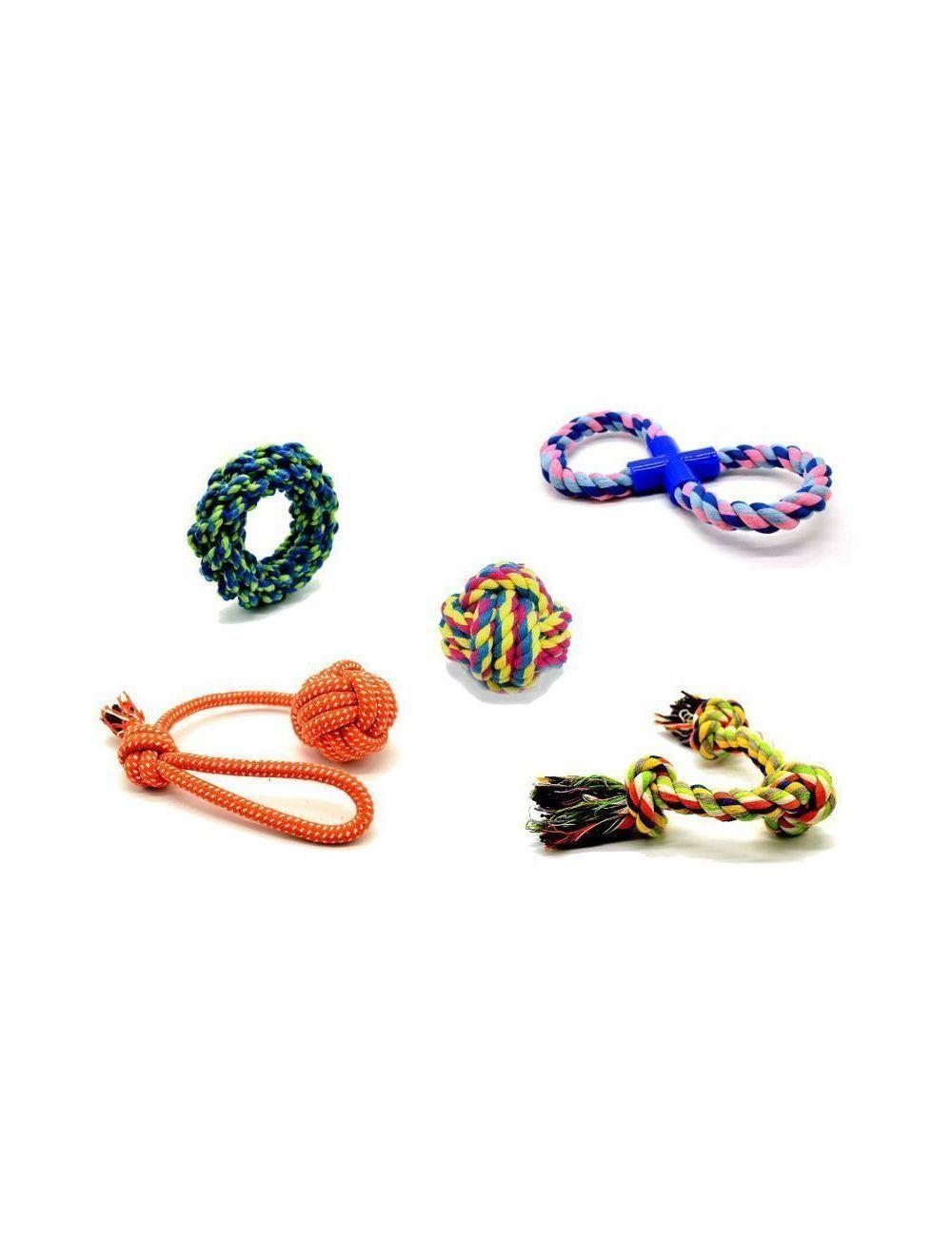 set 5 juguetes en cuerda - Ciudaddemascotas.com
