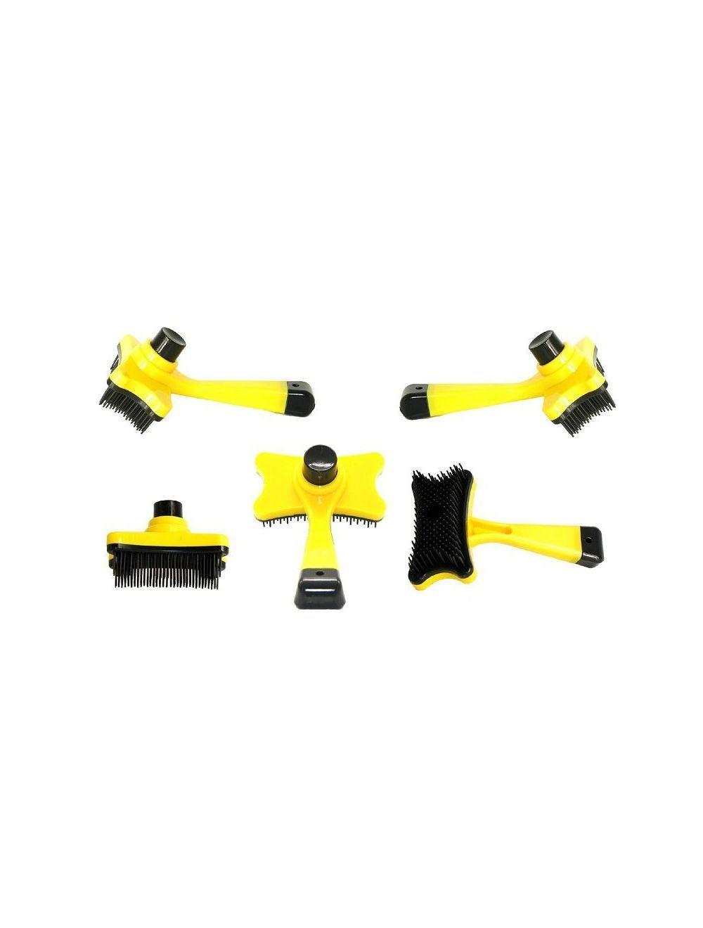Cepillo con botón de limpieza amarillo - Ciudaddemascotas.com