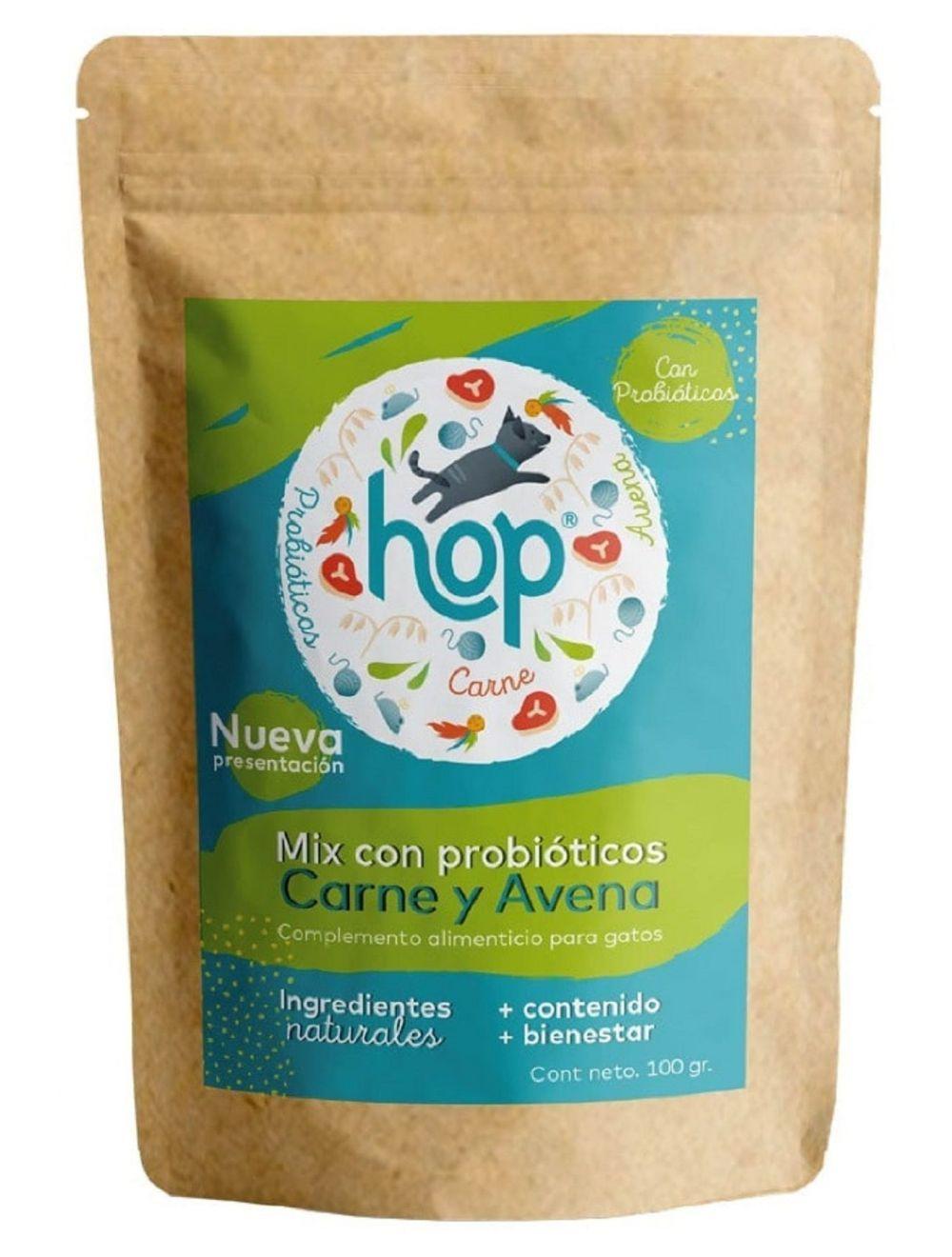 Hop Mix Probióticos para Gatos Carne y Avena x 100 gr - Ciudaddemascotas.com