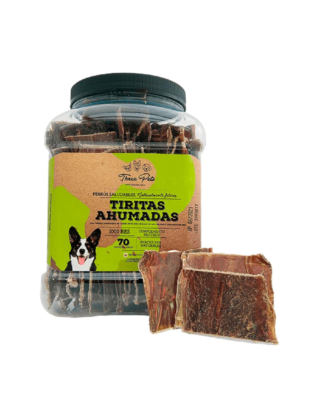 Snacks para perros Three Pets Tiritas Ahumadas- Ciudaddemascotas