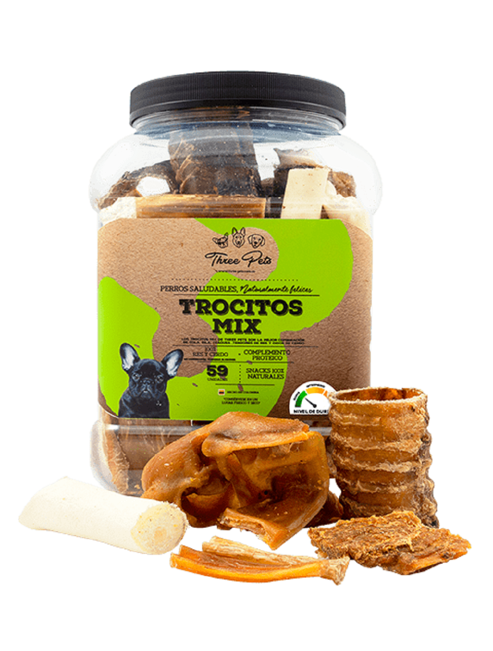 Three Pets - Bomboneta Trocitos Mix 620 gr x 50 Und