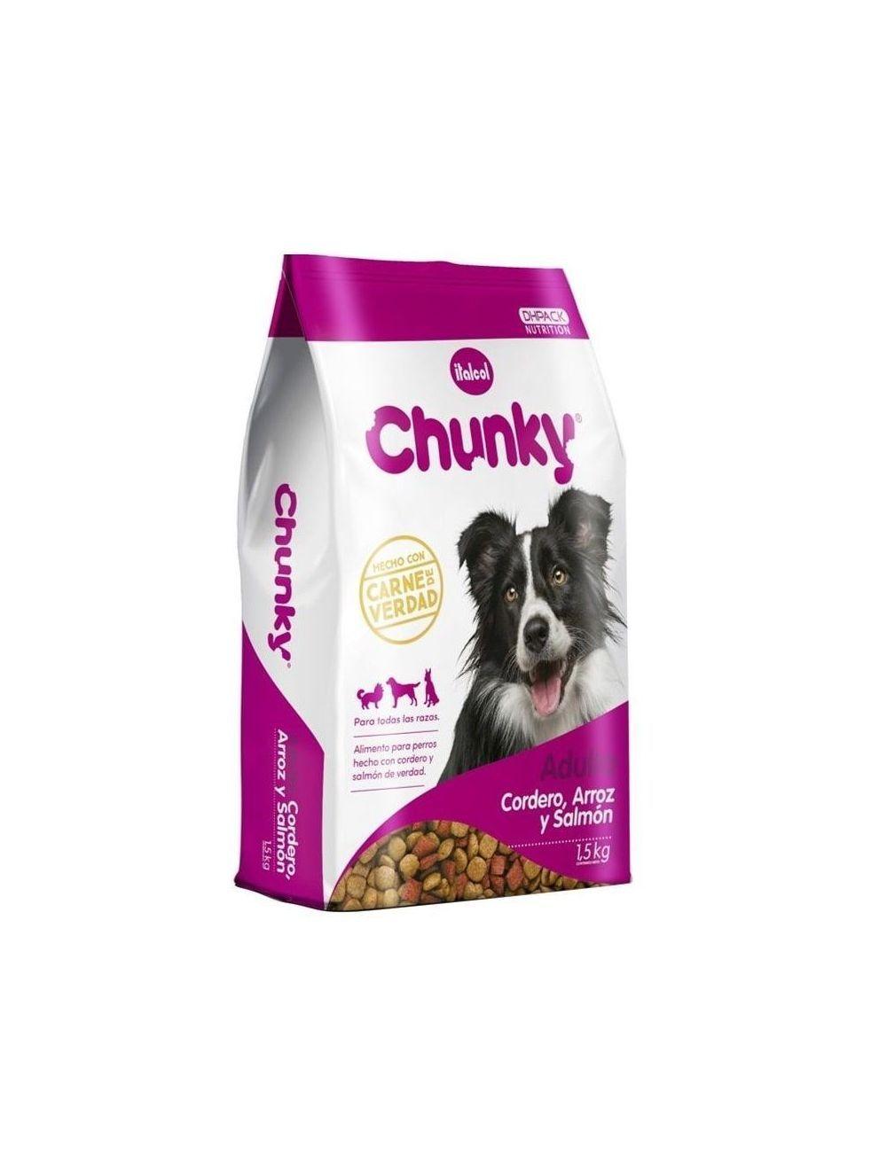 Comida perro Chunky cordero arroz y salmón-Ciudaddemascotas.com