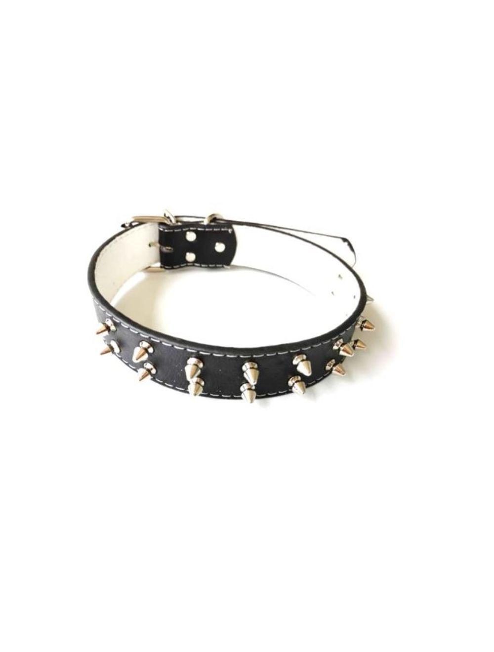 Collar en cuerina con taches color negro - Ciudaddemascotas.com
