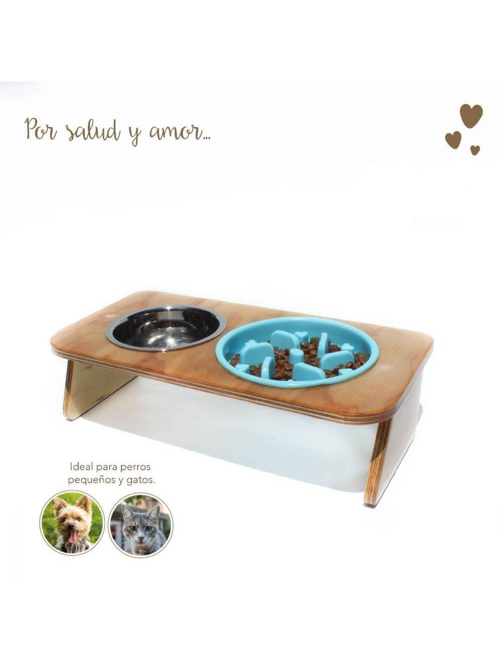 Comedero Plato Antireflujo Mandi Pets Elevado Azul Pequeño