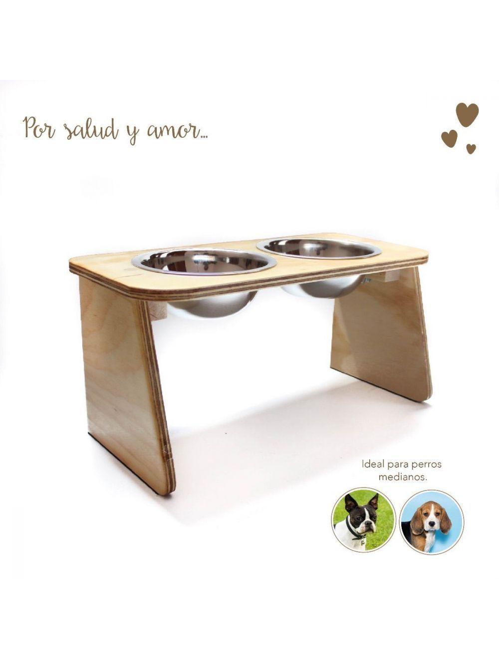 Comedero Bebedero Mandi Pets Elevado Doble Wood Mediano - Ciudaddemascotas.com