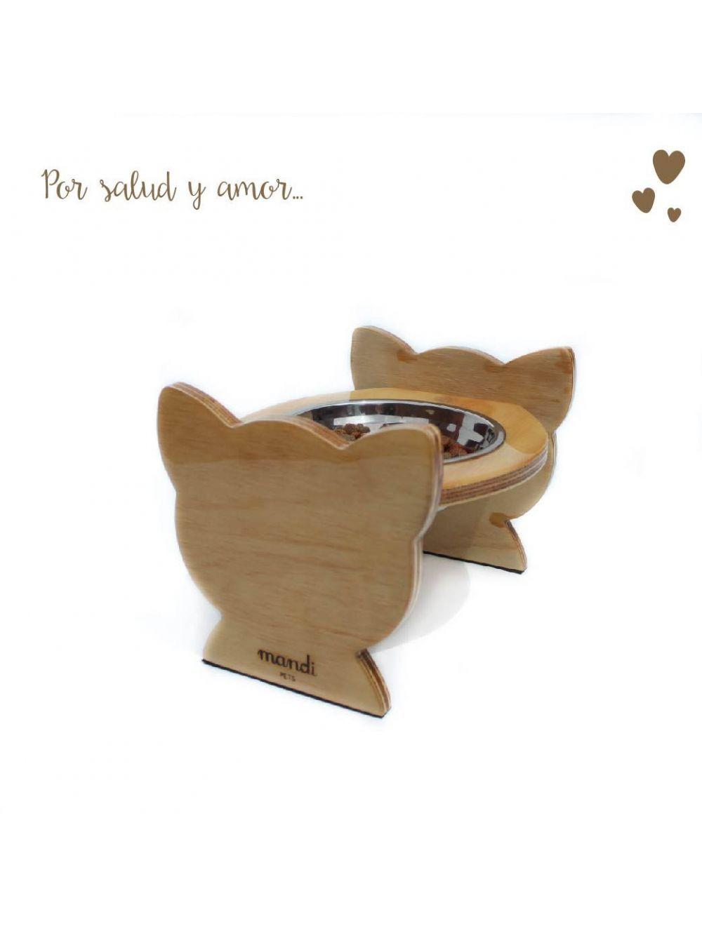 Comedero Bebedero Cat Wood Mandi Pets Elevado Sencillo  - Ciudaddemascotas.com