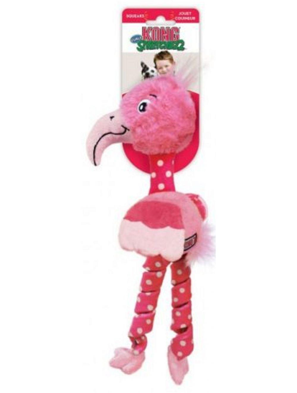 Kong Perro Peluche Stretchezz Flamingo Mediano