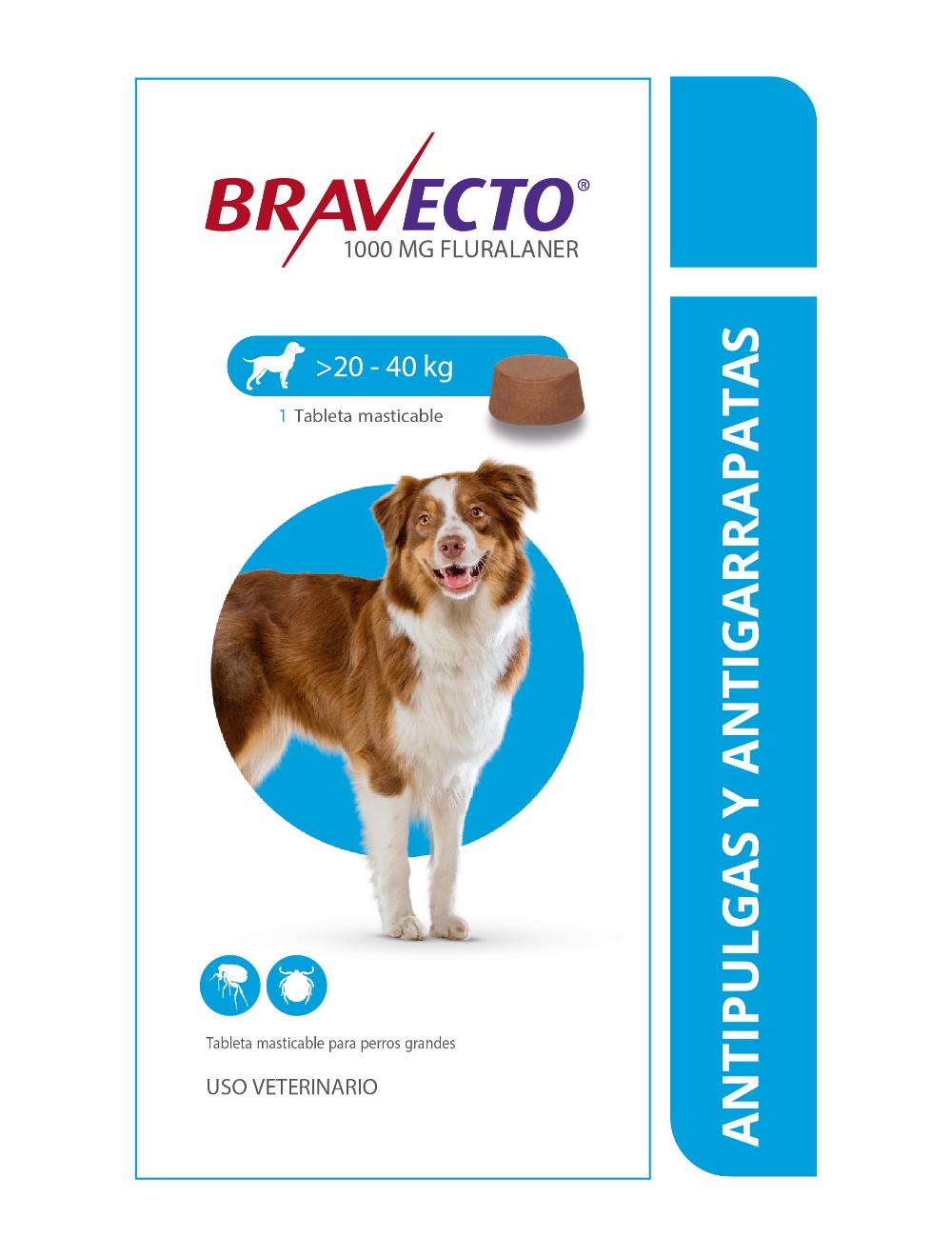 Combo Bravecto Perros de 20 a 40 Kg x 3 unidades - Ciudaddemascotas.com