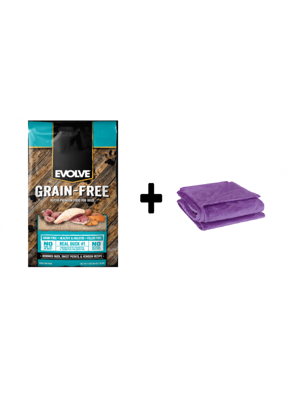 Evolve Dog Grain Free Duck  4.98 Kg + Cobija gratis - Ciudaddemascotas.com