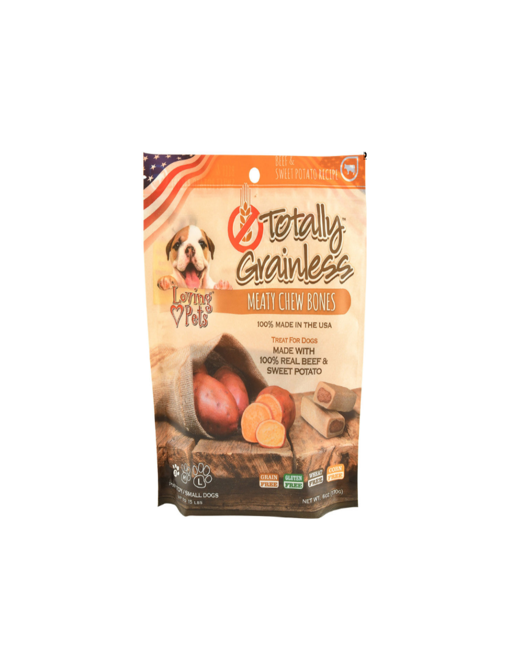 Totally Grainless Snack Para Perros Hueso Carne y Papa Dulce Large 170g - P80