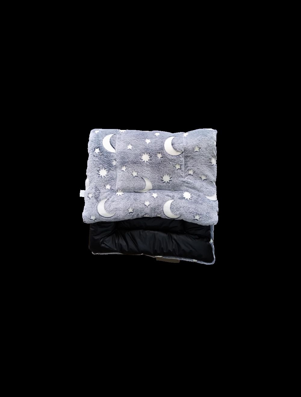 Cojín Colchoneta  Negro / Lunas grises talla S-ciudaddemascotas.com