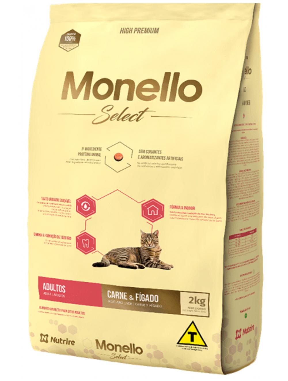 Comida para gato Monello Select Cat Adulto Carne-Ciudaddemascotas