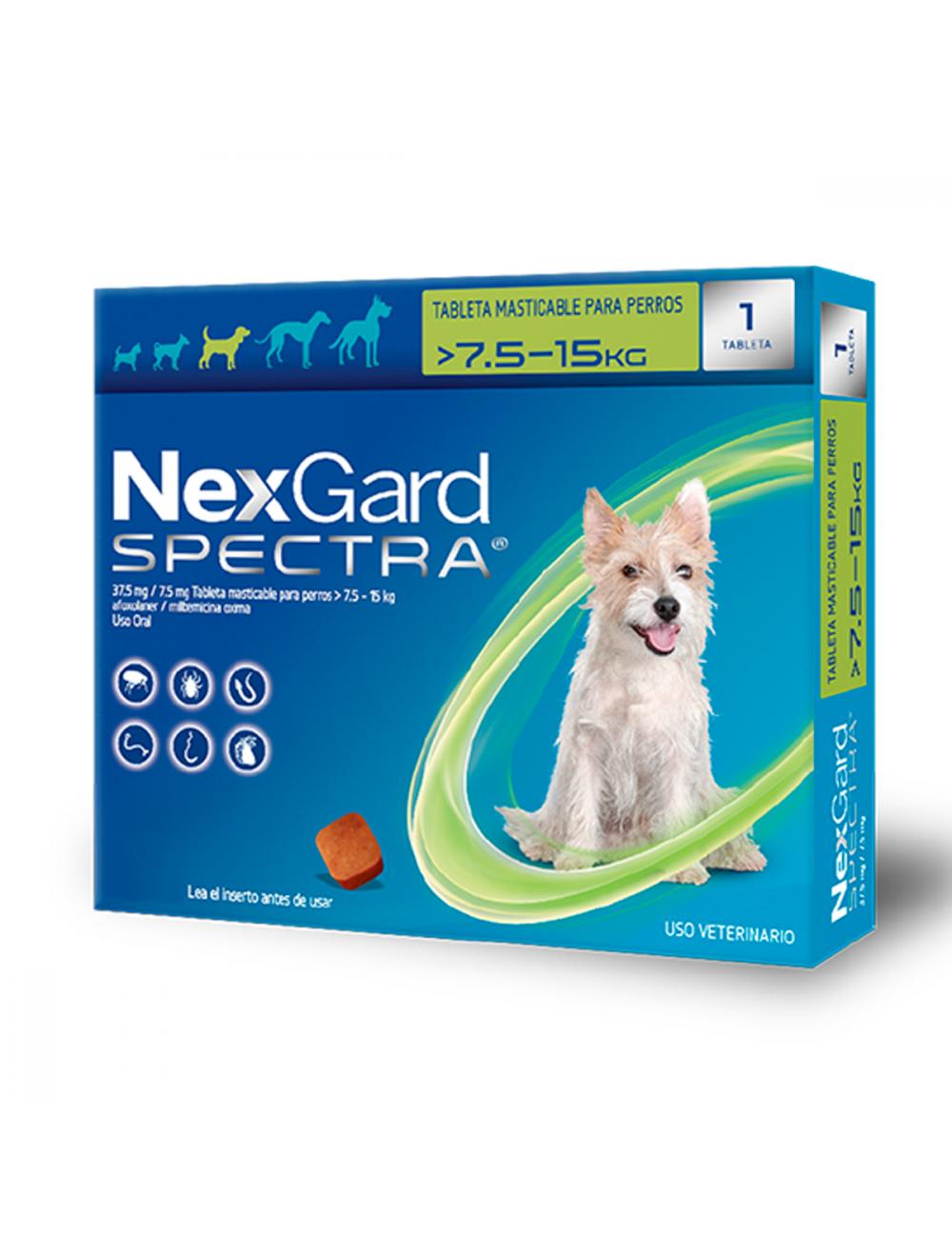 Nexgard Spectra 7.5 - 15 Kg - Ciudaddemascotas.com