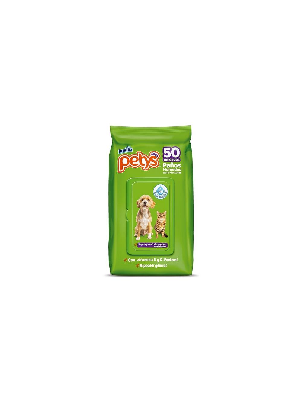 Petys Paños Húmedos para Mascotas 50 und - Ciudaddemascotas.com