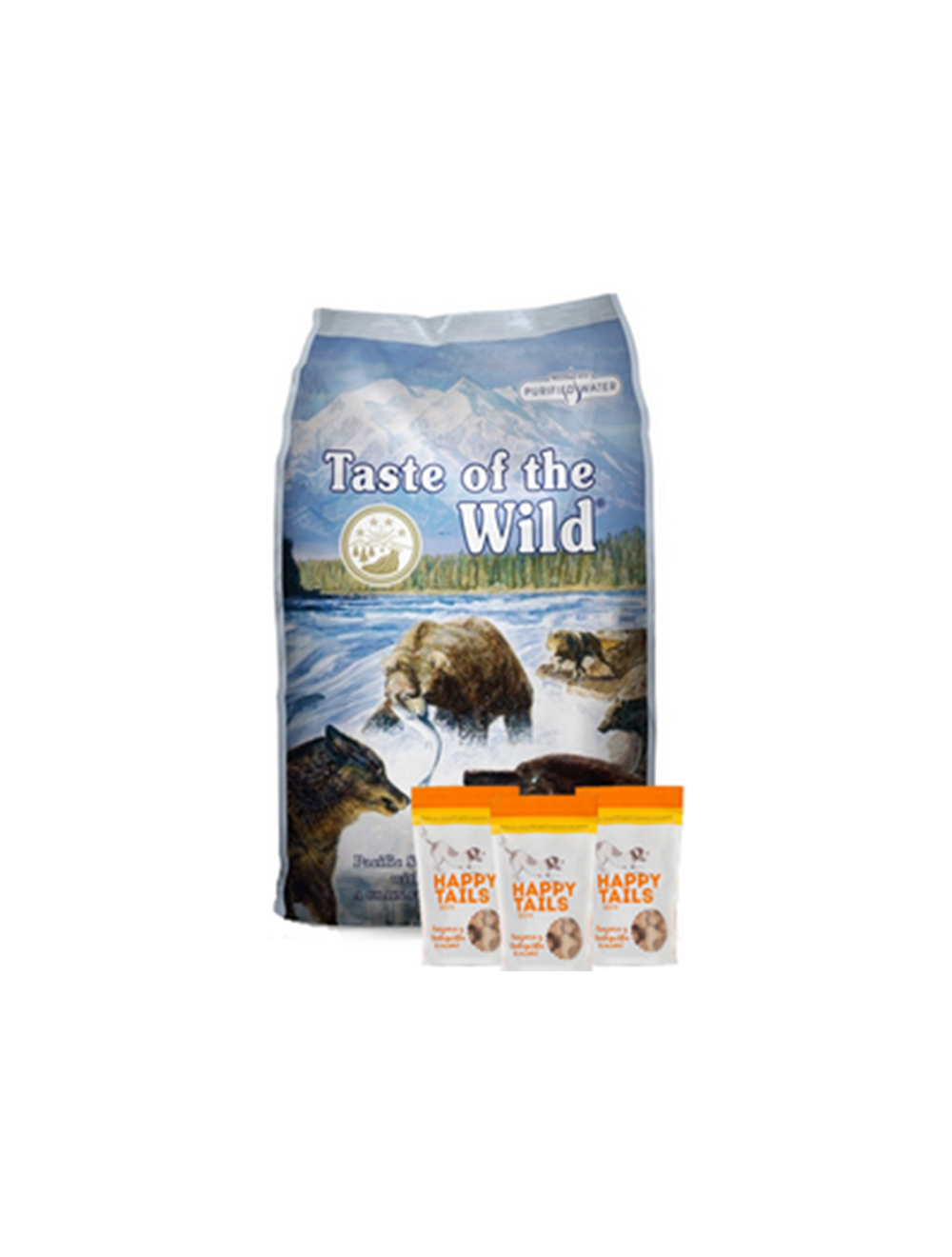 Taste Of The Wild Combo Pacific Stream Canine 13.6 Kg + TripPack Happy Tails