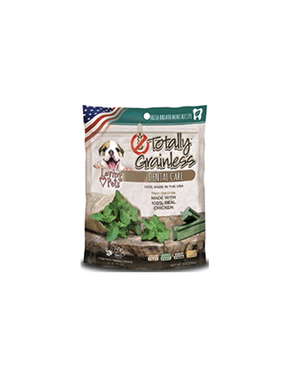 Totally Grainless Snack Para Perros Dental Pollo y Menta M/L x 170g