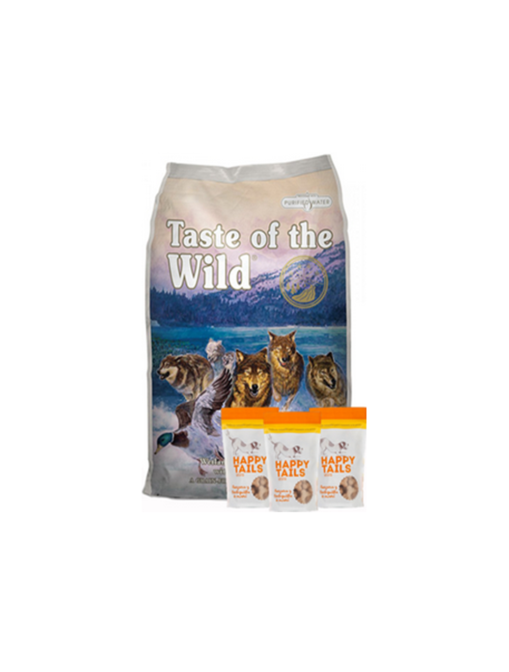 Taste Of The Wild Combo Wetlands Canine 13.6 Kg + TriPack Happy Tails