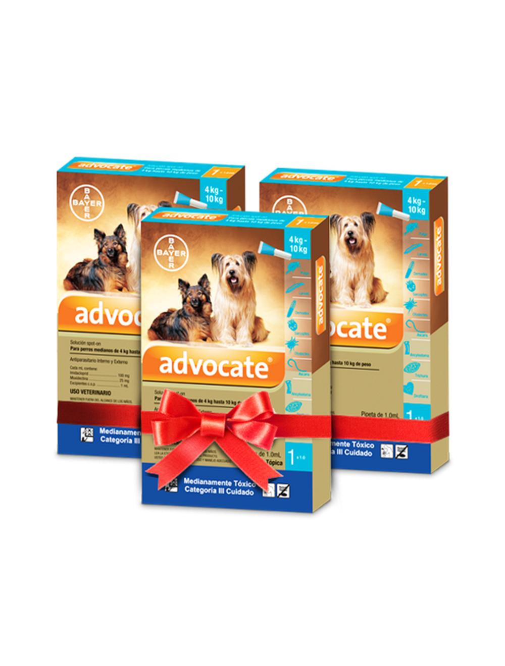 Advocate Pipeta para Perros de más de 4 kg hasta 10 kg Combo x 3