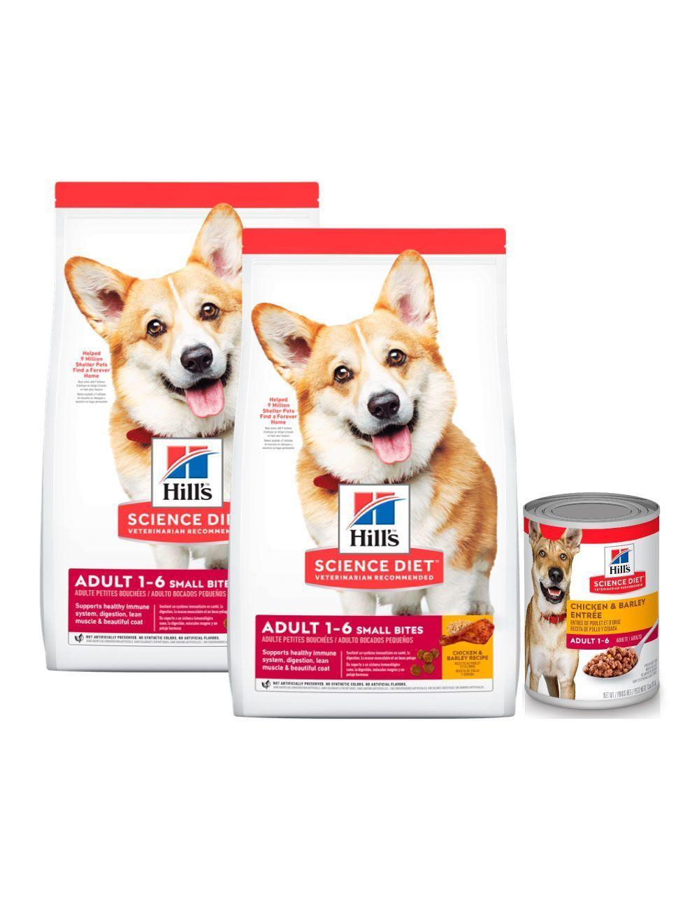 Hills Perro Adulto Small Bites 6.8 Kg x 2 Unidades + Hills Lata Perro Adulto Chicken 370 g