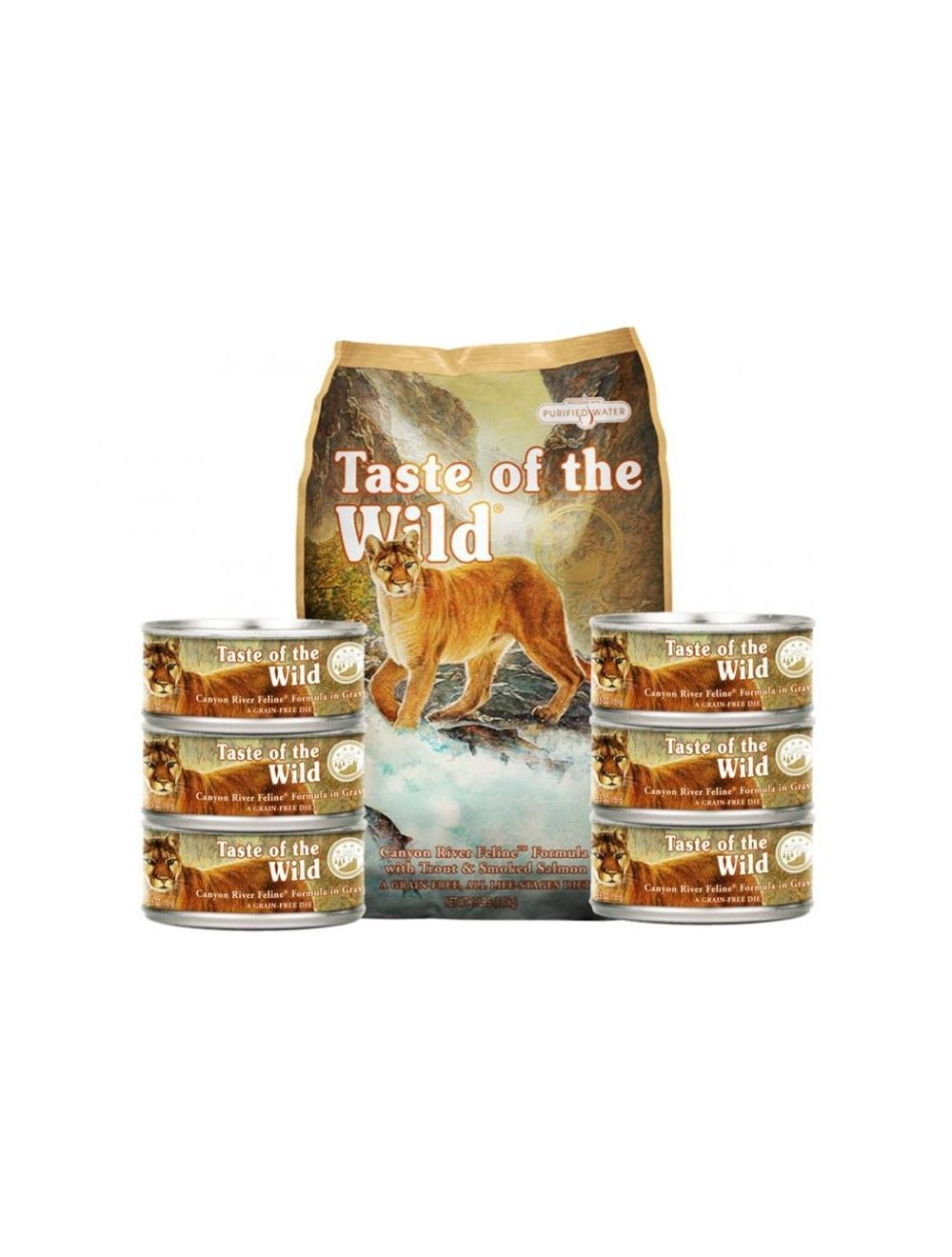 Taste Of The Wild City Combo Ancheta Canyon River Feline 6.8 Kg + Six Pack