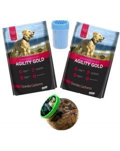 Agility gold grandes cachorros 1,5 kg x 2 + bombonera + Lavapatas