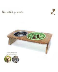Comedero Plato Antireflujo Mandi Pets Elevado Verde Pequeño