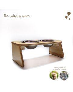 Comedero Bebedero Mandi Pets Elevado Doble Wood Pequeño