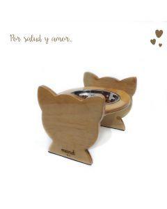 Comedero Bebedero Cat Wood Mandi Pets Elevado Sencillo