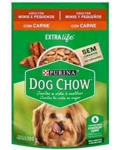 Dog Chow pouch adultos minis y pequeños con carne