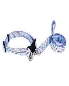PetsMasters Collar + Correa Plana Universal Azul Claro Flores Rojas Azules