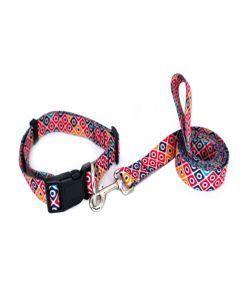 PetsMasters Collar + Correa Plana Universal Cuadros Colores