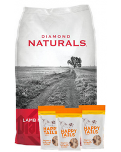 Diamond Naturals Combo Cordero y Arroz (18,1 Kg) + TriPack Happy Tails