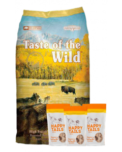 Taste Of The Wild Combo High Prairie Canine 13.6 Kg + TriPack Happy Tails