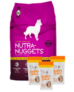 Nutra Nuggets Combo Lite Senior para Perros (15kg) + TriPack Happy Tails