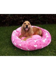 Cama para perros huesos rosa S