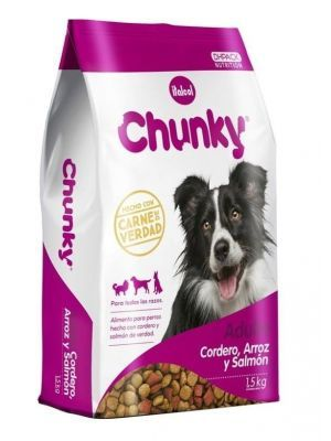 Comida para perro Chunky cordero arroz y salmón-ciudaddemascotas.com