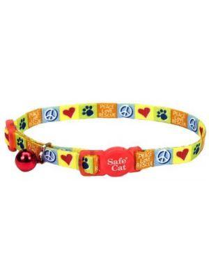 Collar para gato fashion amor paz amarillo-Ciudaddemascotas.com