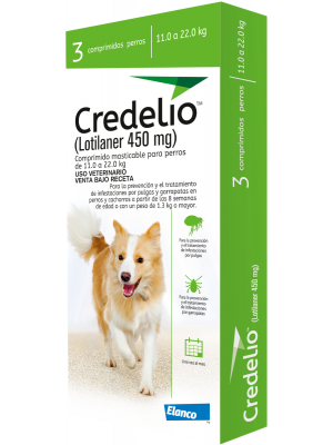 Credelio para Perro 11 a 22 kg x 3 tabletas-Ciudaddemascotas.com
