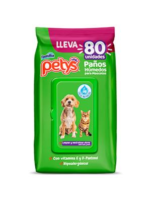 Paños Húmedos Petys para Mascotas x 80 und - ciudaddemascotas.com