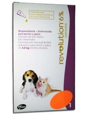 Revolution 6 Perros Gatos 2.5 kg 0.25 ml-Ciudaddemascotas.com