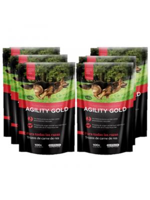 Six Pack Agility Gold Pouch Trozos de Carne de Res