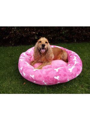 Cama para mascotas diseño huesos rosa-Ciudaddemascotas.com